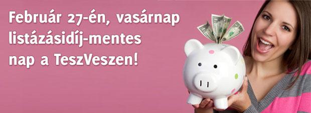 Listázásidíj-mentes nap a TeszVeszen és a Vaterán!